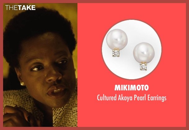 Mikimoto white earrings from Suicide Squad seen with Viola Davis (Amanda Waller)