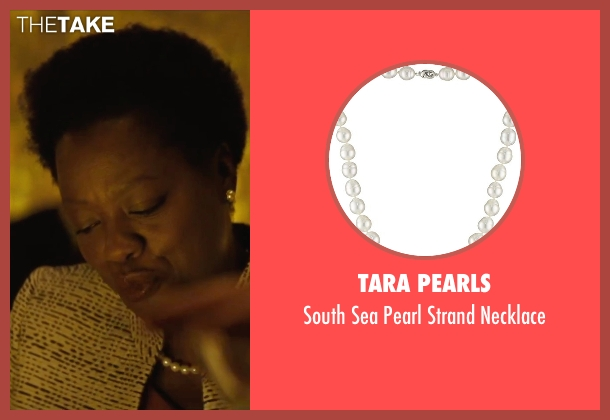 Tara Pearls white necklace from Suicide Squad seen with Viola Davis (Amanda Waller)
