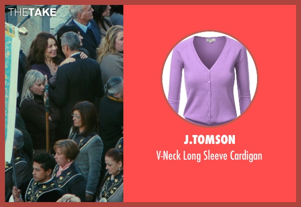 J.Tomson purple cardigan from The American seen with Violante Placido (Clara)
