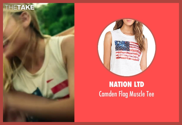 Nation LTD white tee from Project Almanac seen with Virginia Gardner (Christina)