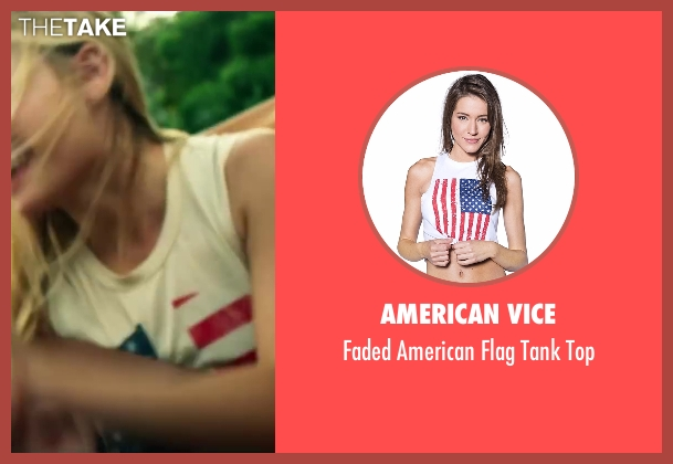 American Vice white top from Project Almanac seen with Virginia Gardner (Christina)