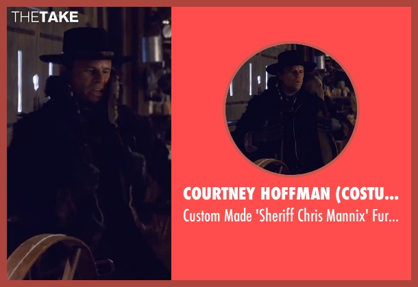 Courtney Hoffman (Costume Designer) black coat from The Hateful Eight seen with Walton Goggins  (Sheriff Chris Mannix)