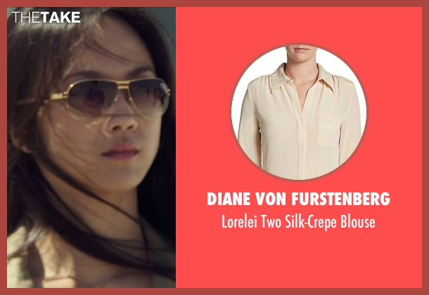 Diane Von Furstenberg beige blouse from Blackhat seen with Wei Tang (Chen Lien)