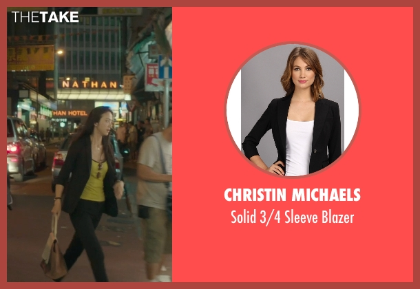 Christin Michaels black blazer from Blackhat seen with Wei Tang (Chen Lien)