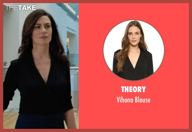 Theory black blouse from Billions seen with Wendy Rhoades (Maggie Siff)