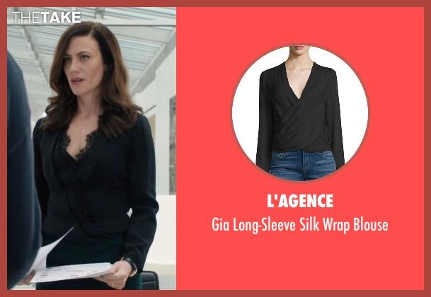L'agence black blouse from Billions seen with Wendy Rhoades (Maggie Siff)