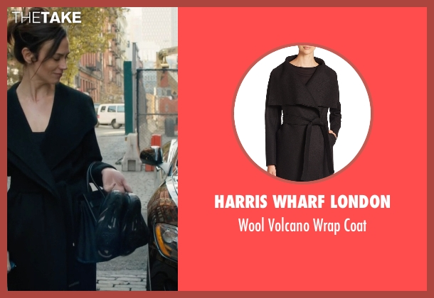 Harris Wharf London black coat from Billions seen with Wendy Rhoades (Maggie Siff)