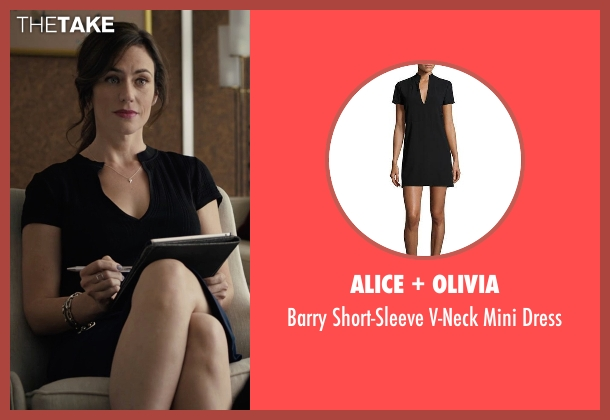 Alice + Olivia black dress from Billions seen with Wendy Rhoades (Maggie Siff)