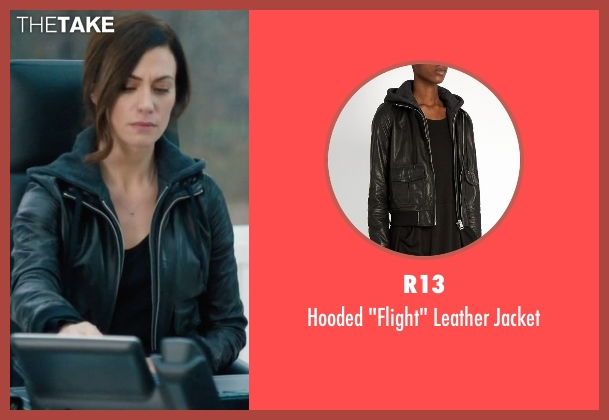 R13 black jacket from Billions seen with Wendy Rhoades (Maggie Siff)