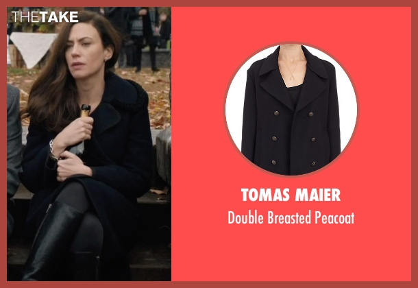 Tomas Maier black peacoat from Billions seen with Wendy Rhoades (Maggie Siff)
