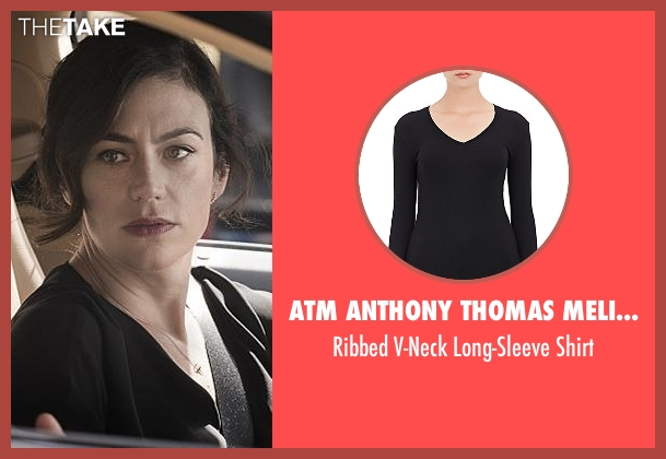 ATM Anthony Thomas Melillo black shirt from Billions seen with Wendy Rhoades (Maggie Siff)