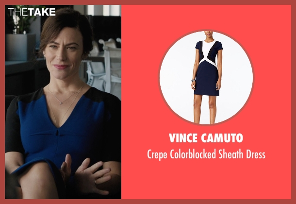 Vince Camuto blue dress from Billions seen with Wendy Rhoades (Maggie Siff)