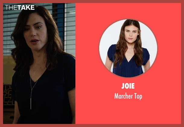 Joie blue top from Billions seen with Wendy Rhoades (Maggie Siff)