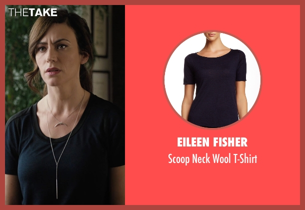 Eileen Fisher  blue t-shirt from Billions seen with Wendy Rhoades (Maggie Siff)