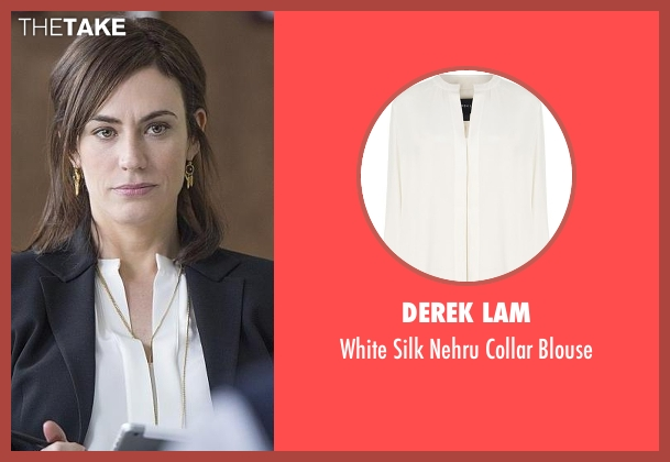 Derek Lam white blouse from Billions seen with Wendy Rhoades (Maggie Siff)