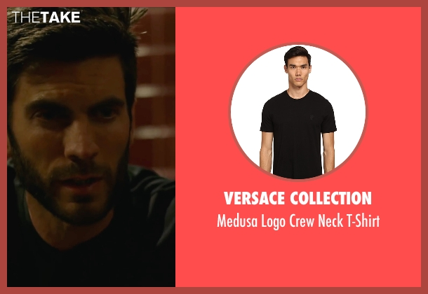 Versace Collection black t-shirt from We Are Your Friends seen with Wes Bentley (James)
