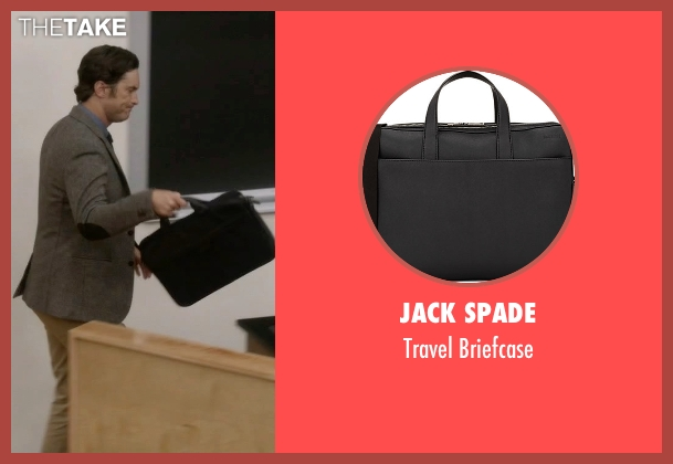 Jack Spade black briefcase from Scream Queens seen with Wes Gardner (Oliver Hudson)