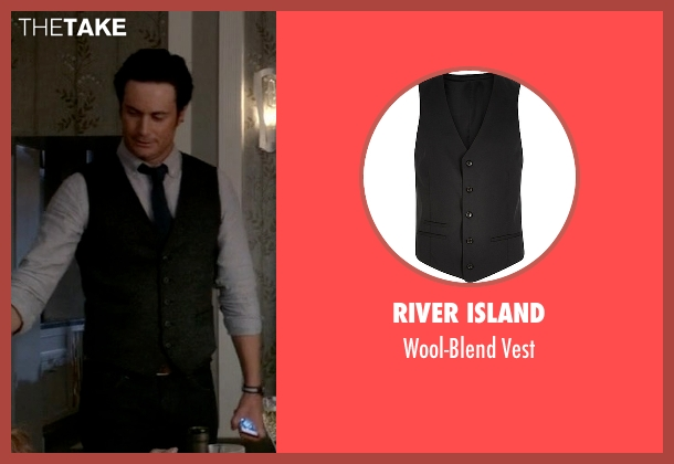 River Island black vest from Scream Queens seen with Wes Gardner (Oliver Hudson)