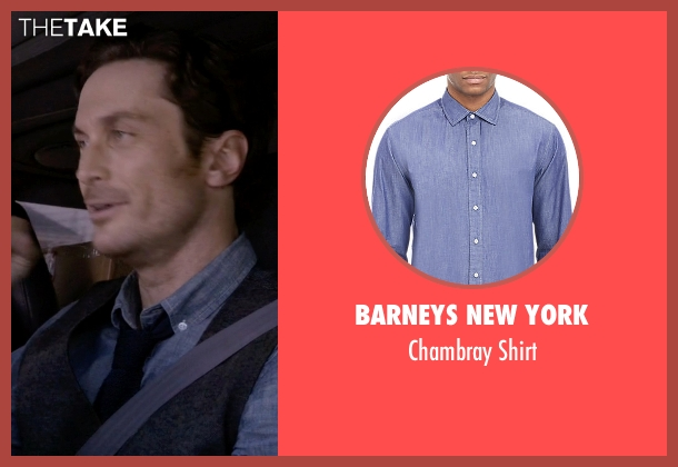 Barneys New York blue shirt from Scream Queens seen with Wes Gardner (Oliver Hudson)
