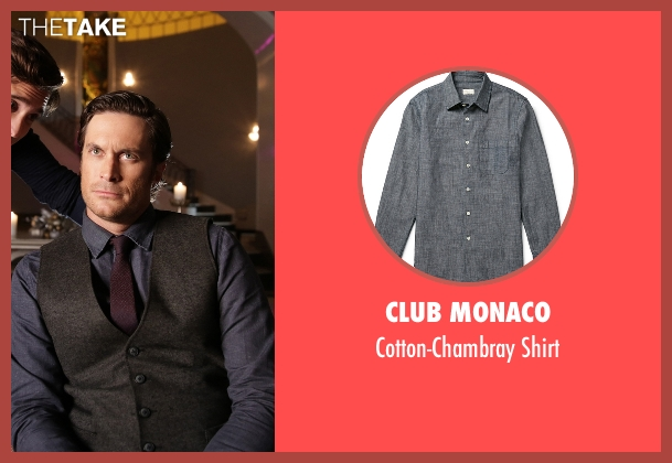 Club Monaco blue shirt from Scream Queens seen with Wes Gardner (Oliver Hudson)
