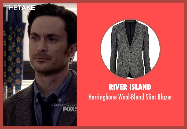 River Island gray blazer from Scream Queens seen with Wes Gardner (Oliver Hudson)