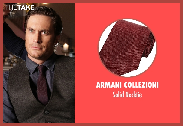 Armani Collezioni red necktie from Scream Queens seen with Wes Gardner (Oliver Hudson)