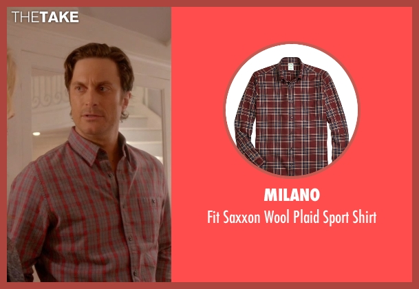 Milano red shirt from Scream Queens seen with Wes Gardner (Oliver Hudson)