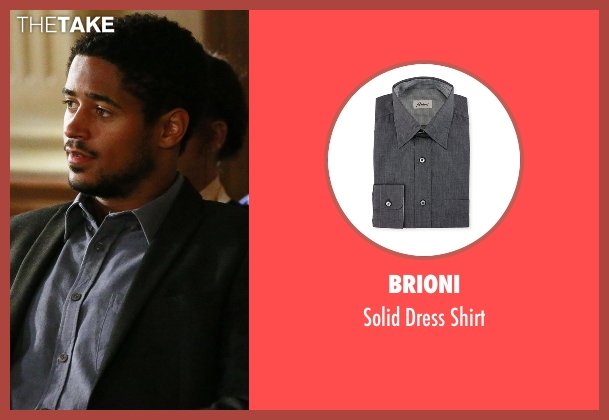 Brioni gray shirt from How To Get Away With Murder seen with Wes Gibbins (Alfred Enoch)