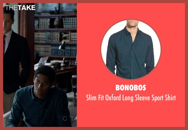 Bonobos green shirt from How To Get Away With Murder seen with Wes Gibbins (Alfred Enoch)