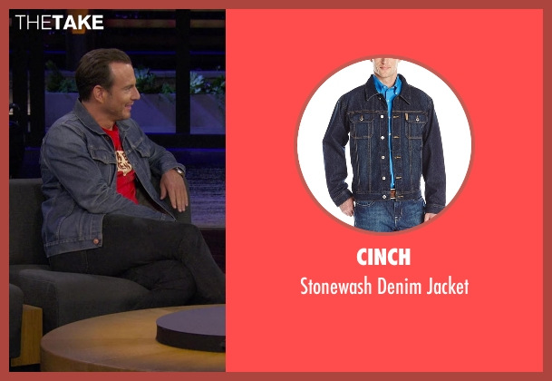 Cinch blue jacket from Chelsea seen with Will Arnett