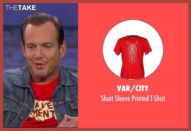 Var/City red t-shirt from Chelsea seen with Will Arnett