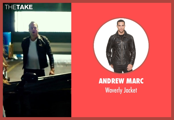 Andrew Marc black jacket from Teenage Mutant Ninja Turtles: Out of the Shadows seen with Will Arnett (Vernon Fenwick)
