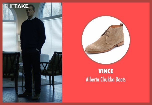 Vince beige boots from House of Cards seen with Will Conway (Joel Kinnaman)