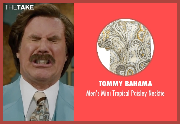 Tommy Bahama beige necktie from Anchorman 2: The Legend Continues seen with Will Ferrell (Ron Burgundy)