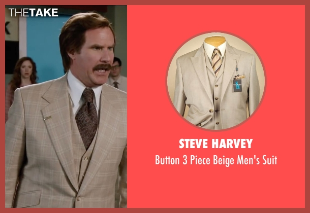 Steve Harvey beige suit from Anchorman 2: The Legend Continues seen with Will Ferrell (Ron Burgundy)