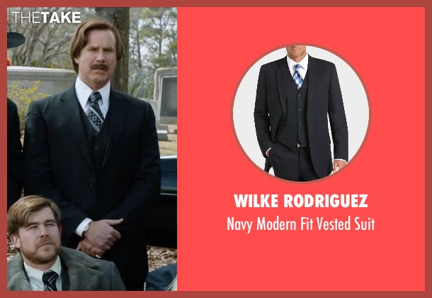 Wilke Rodriguez black suit from Anchorman 2: The Legend Continues seen with Will Ferrell (Ron Burgundy)