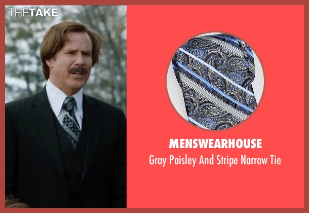 Menswearhouse black tie from Anchorman 2: The Legend Continues seen with Will Ferrell (Ron Burgundy)