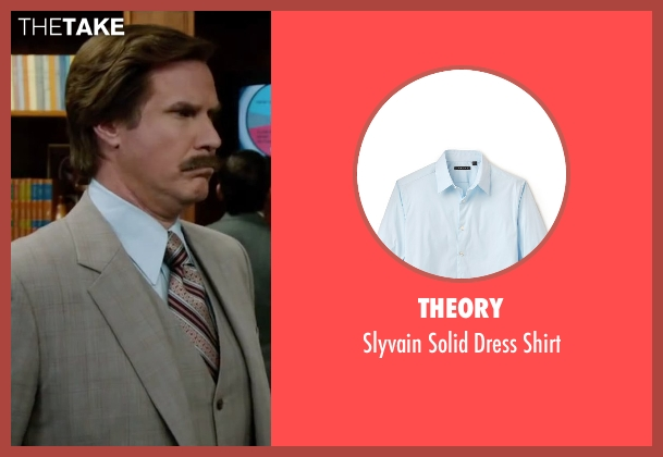 Theory blue shirt from Anchorman 2: The Legend Continues seen with Will Ferrell (Ron Burgundy)