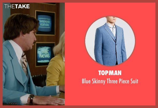 Topman blue suit from Anchorman 2: The Legend Continues seen with Will Ferrell (Ron Burgundy)