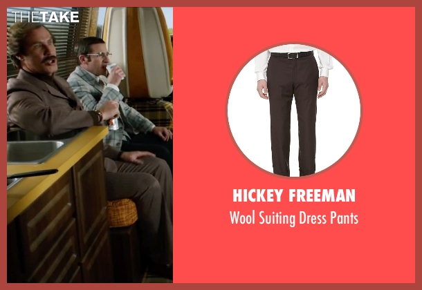 Hickey Freeman brown pants from Anchorman 2: The Legend Continues seen with Will Ferrell (Ron Burgundy)