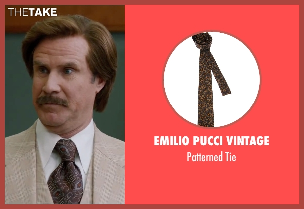 Emilio Pucci Vintage brown tie from Anchorman 2: The Legend Continues seen with Will Ferrell (Ron Burgundy)
