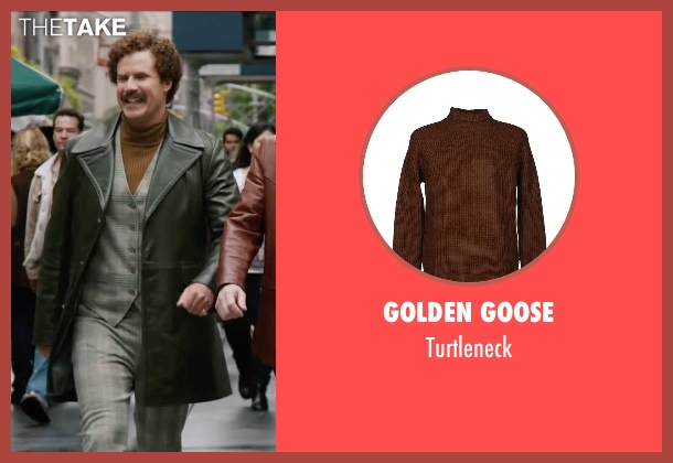 Golden Goose brown turtleneck from Anchorman 2: The Legend Continues seen with Will Ferrell (Ron Burgundy)