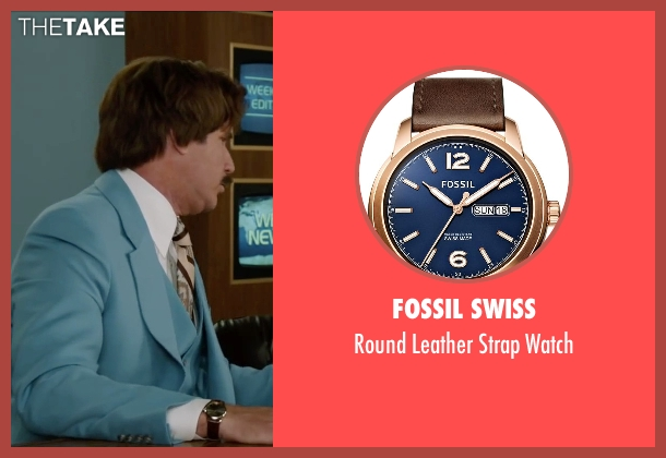 Fossil Swiss brown watch from Anchorman 2: The Legend Continues seen with Will Ferrell (Ron Burgundy)