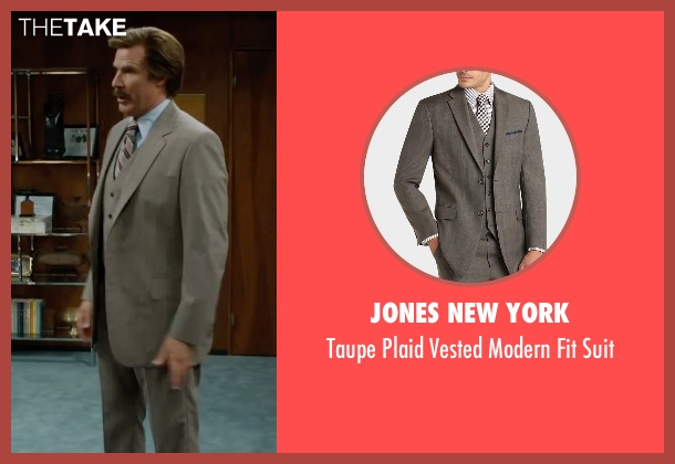 Jones New York gray suit from Anchorman 2: The Legend Continues seen with Will Ferrell (Ron Burgundy)