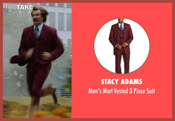 Stacy Adams red suit from Anchorman 2: The Legend Continues seen with Will Ferrell (Ron Burgundy)