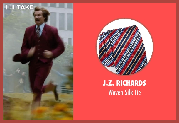 J.Z. Richards red tie from Anchorman 2: The Legend Continues seen with Will Ferrell (Ron Burgundy)