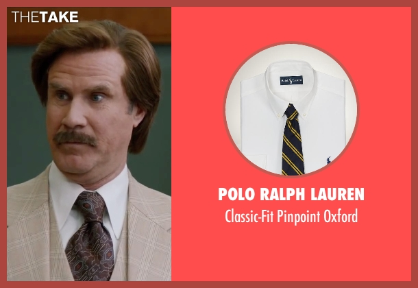 Polo Ralph Lauren white oxford from Anchorman 2: The Legend Continues seen with Will Ferrell (Ron Burgundy)