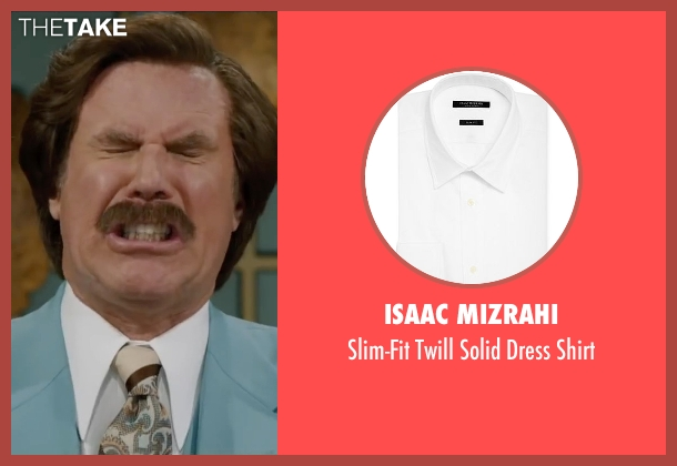 Isaac Mizrahi white shirt from Anchorman 2: The Legend Continues seen with Will Ferrell (Ron Burgundy)