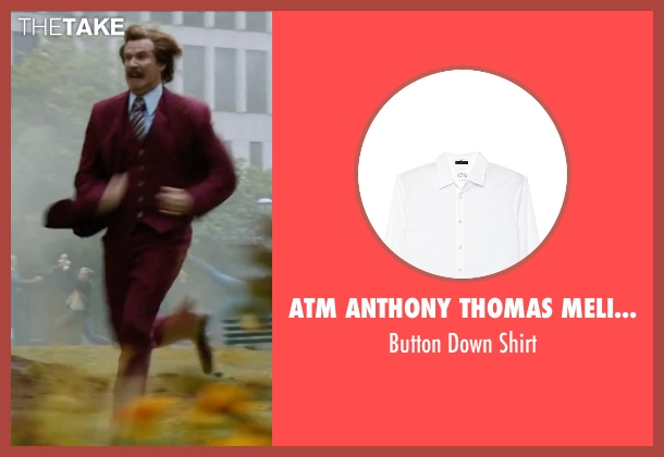ATM Anthony Thomas Melillo white shirt from Anchorman 2: The Legend Continues seen with Will Ferrell (Ron Burgundy)