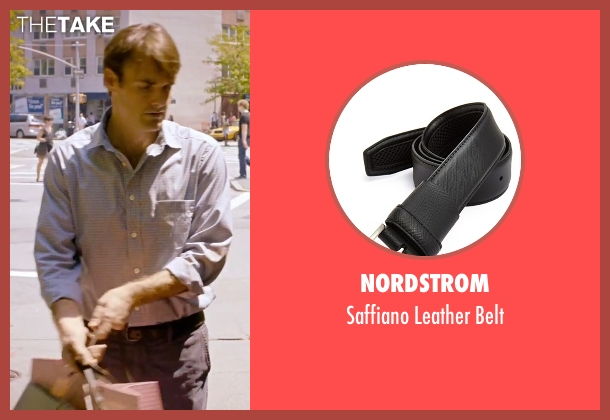 Nordstrom black belt from She's Funny That Way seen with Will Forte (Joshua Fleet)